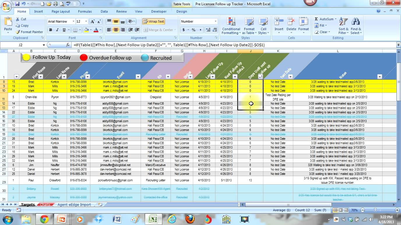 Keep track of your leads in a spreadsheet