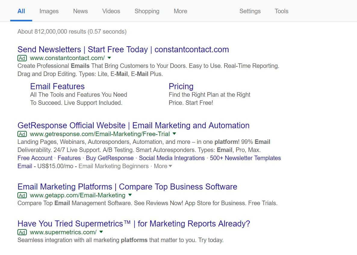 How paid ads look like in the Google SERP