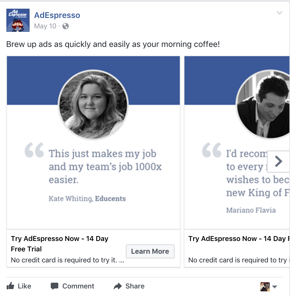 use testimonials for the Facebook ads