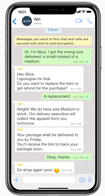 automated tasks through WhatsApp chatbots - customer support