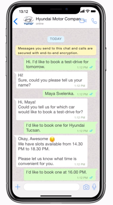automated tasks through WhatsApp chatbots - book meetings