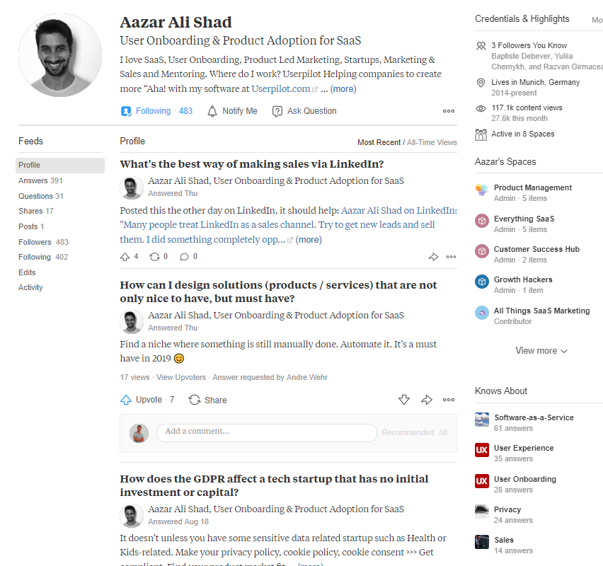 posts in quora profile page